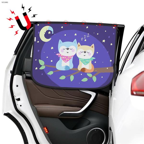 Magnetic car sunscreen and heat insulation double cartoon pattern sunshade curtain (snuggling cat) Autocar Decorations N/A