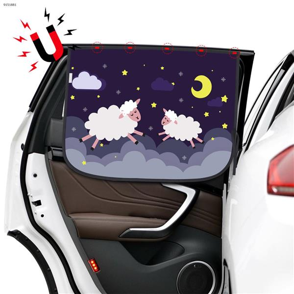 Magnetic car sunscreen and heat insulation double layer cartoon pattern sunshade (running sheep) Autocar Decorations N/A