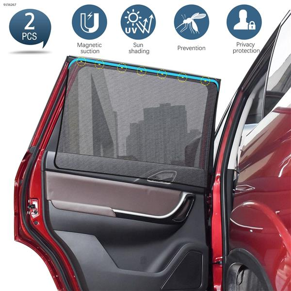 A pair of black net gauze for magnetic car sun shade (rear window edging) Autocar Decorations N/A