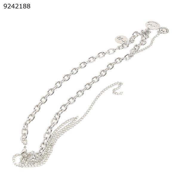 Smiley Necklace Double Pendant Clavicle Chain Other N/A