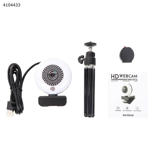 HK-12 Webcam with Microphone & Ring Light 2K HD Web Cam with Cover,Stand for PC/MAC/Laptop/Desktop IP Cameras HK-12