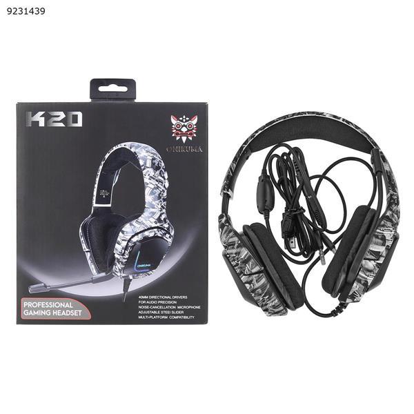 ONIKUMA K20 Headphones (Camouflage Gray) Headset K20