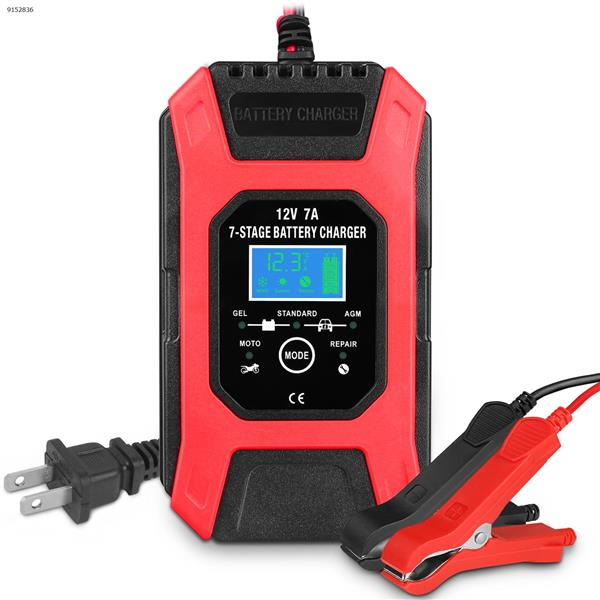 12V7A fast battery charger 7-segment charger for motorcycle car battery (orange red-US) Car Appliances 7A