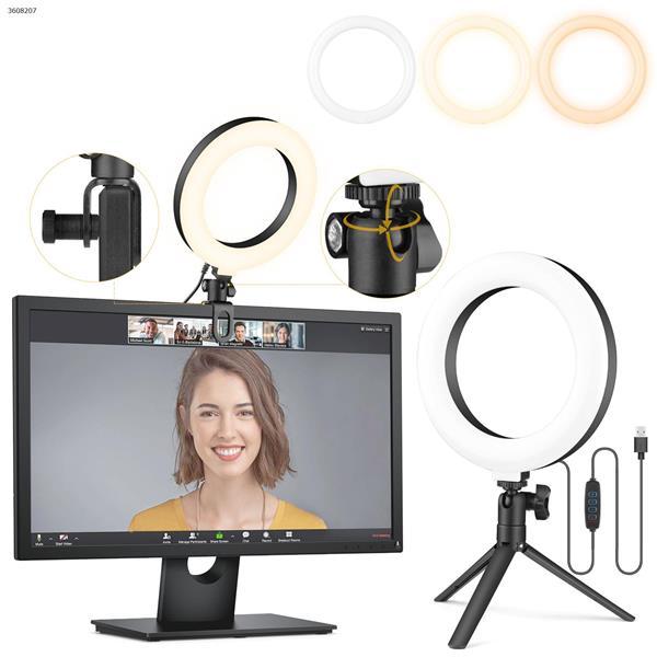 L306S AIXPI    6-inch ring lamp + plastic pan tilt + computer U-clip +  tripod bracket LED Ring Light L306S