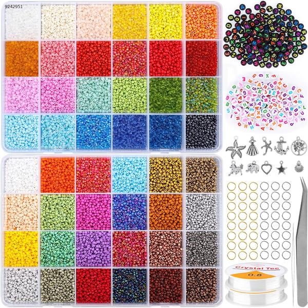 DIY rice beads 35000 PCs (2 coils of thread + 1 pair of tweezers + 50 golden circles + 50 silver circles + 150 black letter beads + 150 white letter beads +10 pendants+ 1 needle) Other N/A