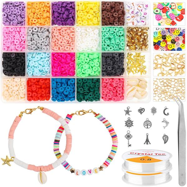 4200 pieces of clay beads 6mm 20 colors flat round polymer clay spacer bead pendant accessory and 2 rolls of elastic rope for DIY jewelry making bracelet necklace Other DIY14